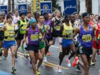 PHOTO: Elite men leave the starting line of the the 119th Boston Marathon in Hopkinton, Mass. on April 20, 2015.