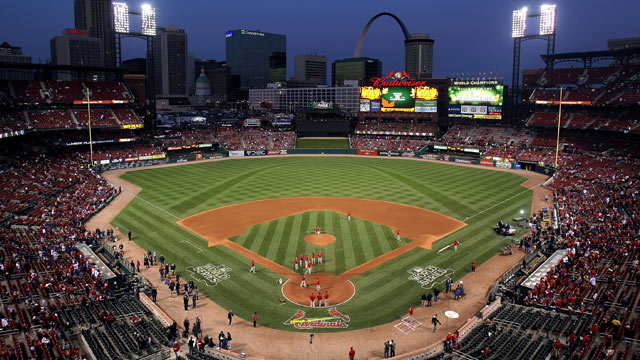 PHOTO: A general view of the field prior to Game Seven of the MLB World Series between the Texas Rangers and the St. Louis Cardinals at Busch Stadium, St Louis, Missouri, Oct. 28, 2011.