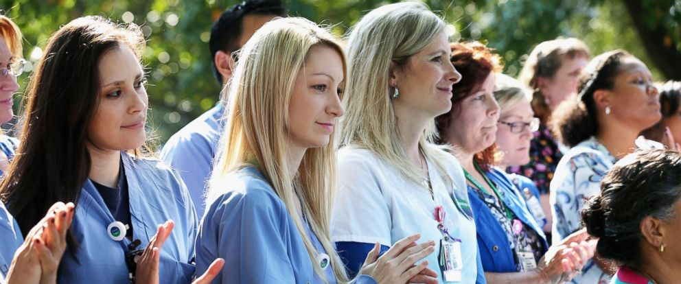 PHOTO: Several dozen nurses from Texas Health Presbyterian Hospital gathered in front of the hospital to show support for their employer, Oct. 20, 2014 in Dallas, Texas.