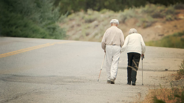 PHOTO: An elderly couple walks hand in hand along road side, each using a cane.