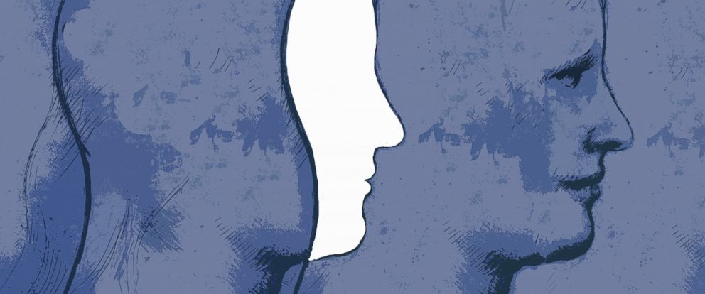 PHOTO: Illustration of overlapping profiles of a mans head.