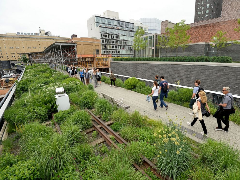 PHOTO: Visitors walk along the High Line on June 11, 2014 in New York.