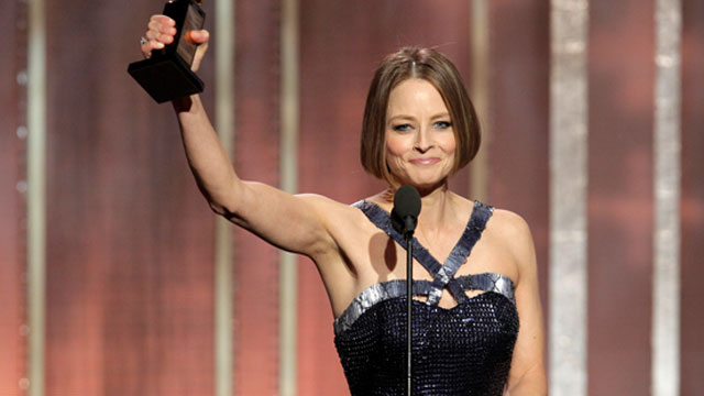 PHOTO: Jodie Foster receives the Cecil B. Demille Award on stage during the 70th Annual Golden Globe Awards, Jan. 13, 2013, in Beverly Hills, Calif.