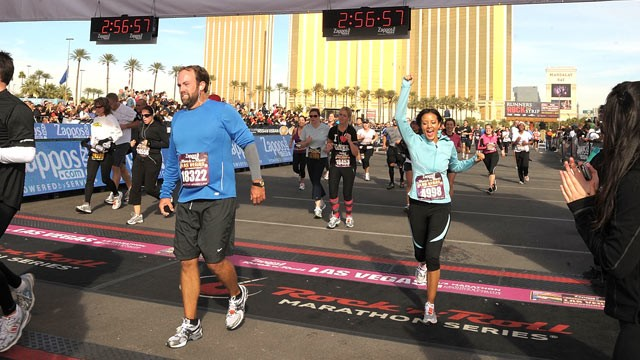 PHOTO: Runners cross the finish line, during the Las Vegas Marathon and Half-Marathon, in this Dec. 5, 2010 file photo, in Las Vegas, Nevada.
