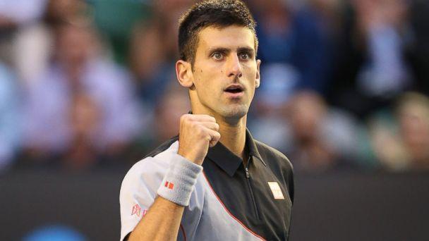 PHOTO: Novak Djokovic of Serbia celebrates a point in his quarterfinal match against Stanislas Wawrinka of Switzerland