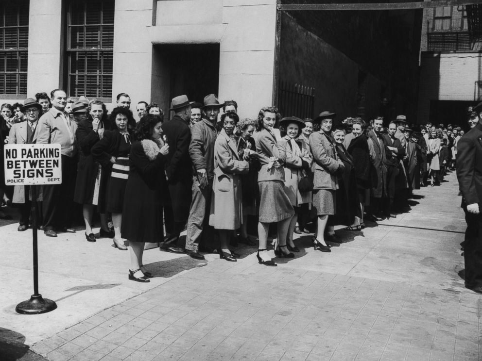 PHOTO: New Yorkers queue up for their free smallpox vaccinations after twelve cases were reported in the state, April 1947.