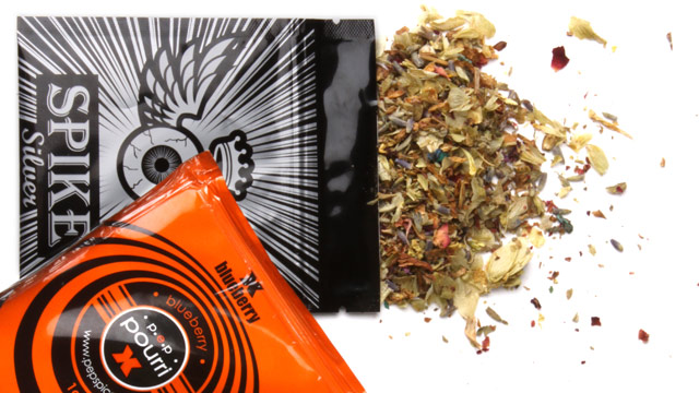 "PHOTO: Pouches of dried herbal potpourri being called ""synthetic marijuana"", photographed at The Washington Post on July 7, 2010."