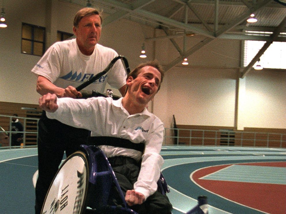 PHOTO: Dick Hoyt and his son, Rick, work out with Ricks new lightweight racing chair in preparation for the Boston Marathon on April 9, 1997.