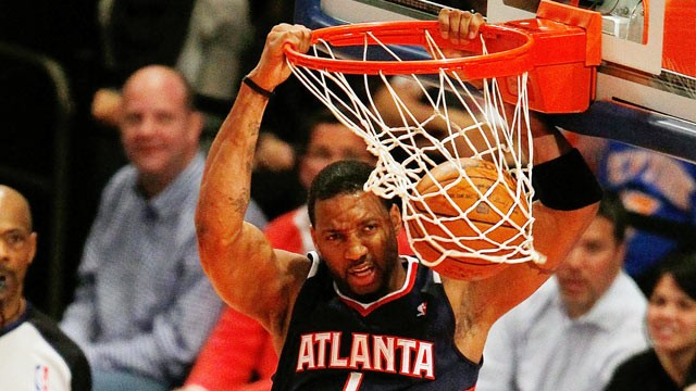 PHOTO: Tracy McGrady #1 of the Atlanta Hawks scores a basket during an NBA basketball game against the New York Knicks on February 22, 2012 at Madison Square Garden in New York City.