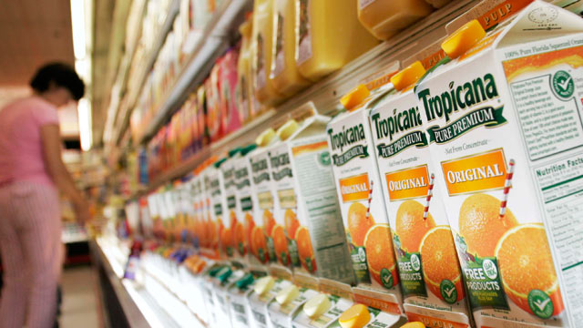 PHOTO: Tropicana orange juice is displayed at an Associated Supermarket, New York, Sept. 27, 2005.
