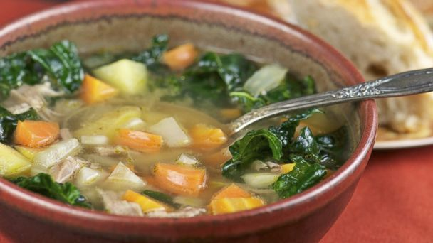 PHOTO: A bowl of turkey soup, with kale and carrots, contains ingredients scientifically proven to make you feel better.