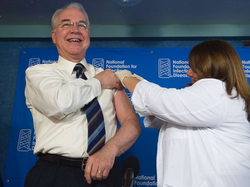 PHOTO: Secretary of Health and Human Services Tom Price attends a press conference about influenza prevention for the upcoming flu season at the National Press Club in Washington, Sept. 28, 2017.