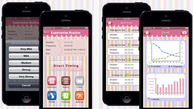 PHOTO: Screen shots of the Contraction Monitor app for iPhone