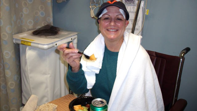PHOTO: Dot Highberg, 56, is able to eat using a fork for the first time immediately after undergoing a procedure called MRI-guided Focused Ultrasound Surgery, a non-invasive, pain-free brain surgery she had to treat her debilitating essential tremors.