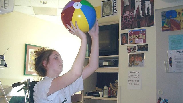 PHOTO: High school basketball star Maggie Meier shot hoops while in a coma from meningitis.