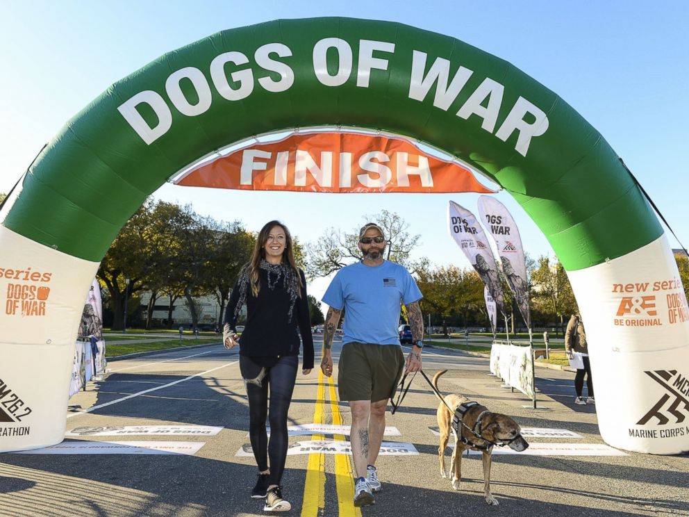 PHOTO: Lindsey Stanek and Jim Stanek, founders of Paws and Stripes and stars of A&Es Dogs of War walk during the 2K-9 Race, Oct. 26, 2014 in Washington.