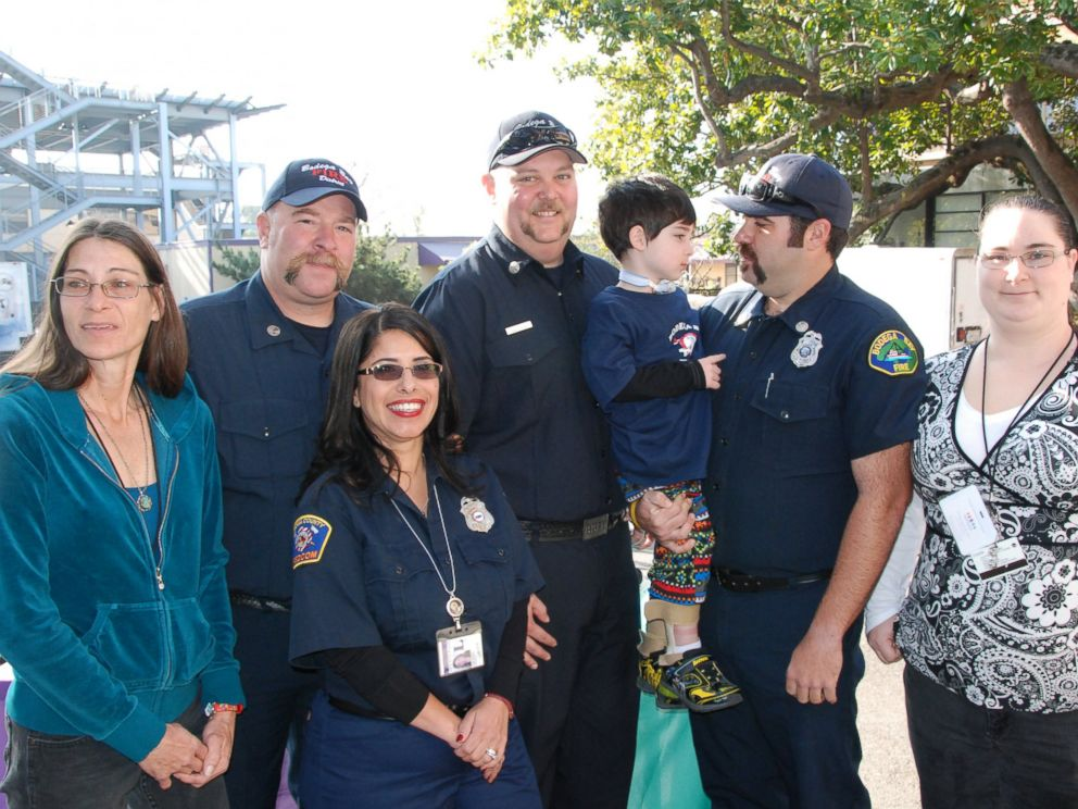 PHOTO: Three months after a 4-year-old Sebastian Johnsons fall off a 225-foot cliff, he has reunited with the hero firefighters who saved his life.