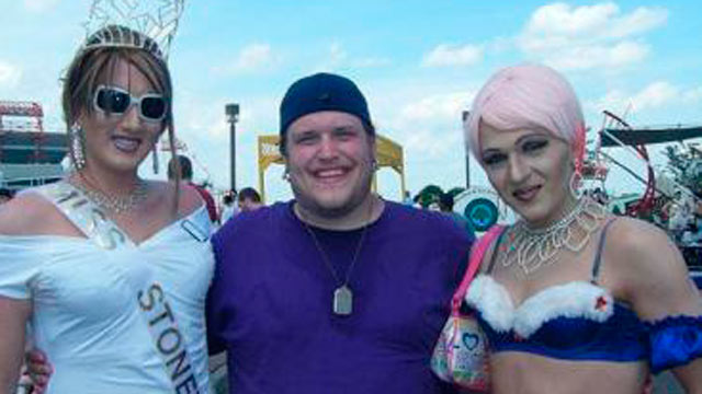 "PHOTO: Timothy Kurek (center), author of ""The Cross in the Closet"" is shown here with friends on Gay Pride Day."