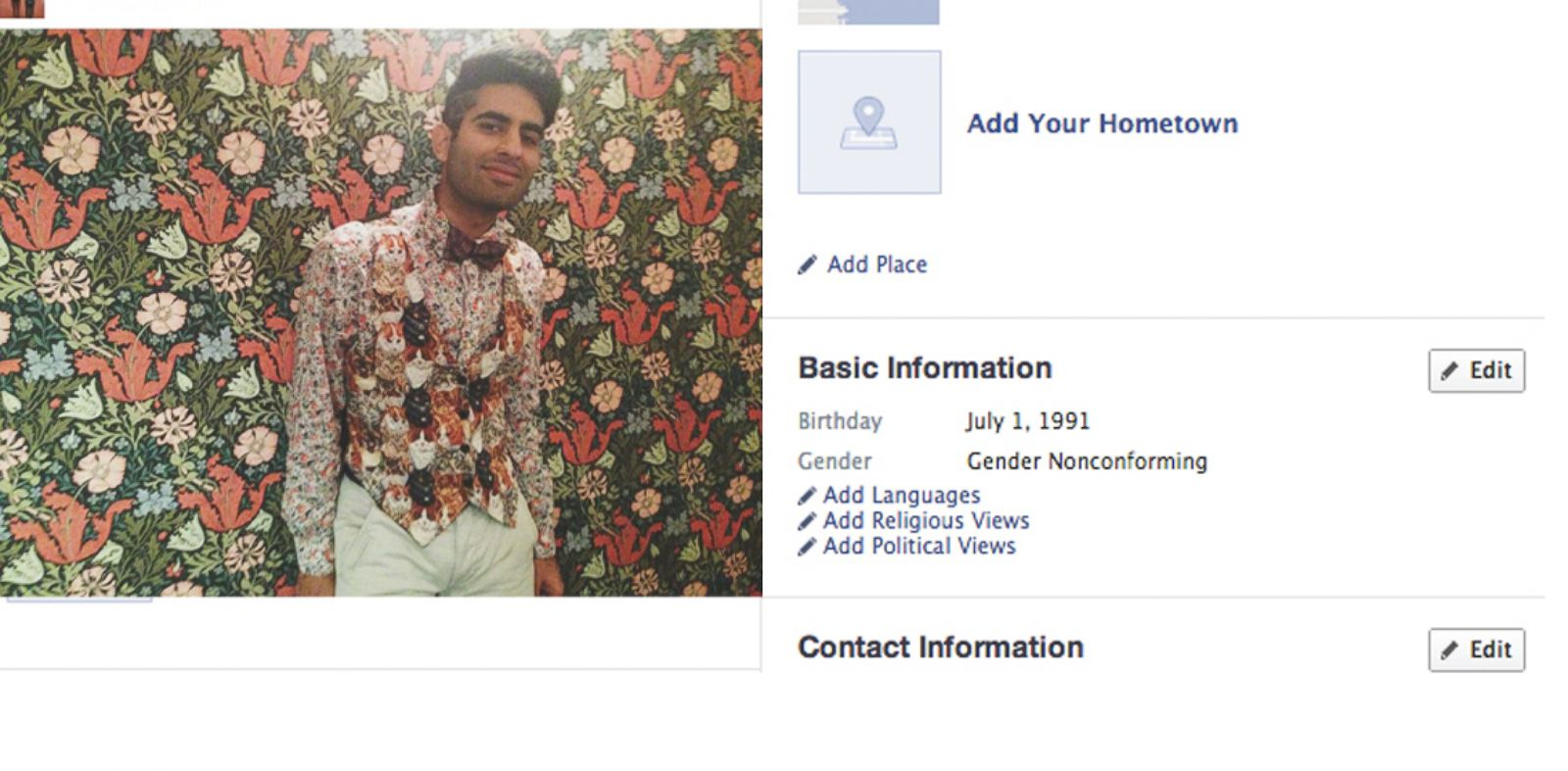 "PHOTO: Alok Vaid-Menon today selected ""their"" gender as ""nonconforming."""