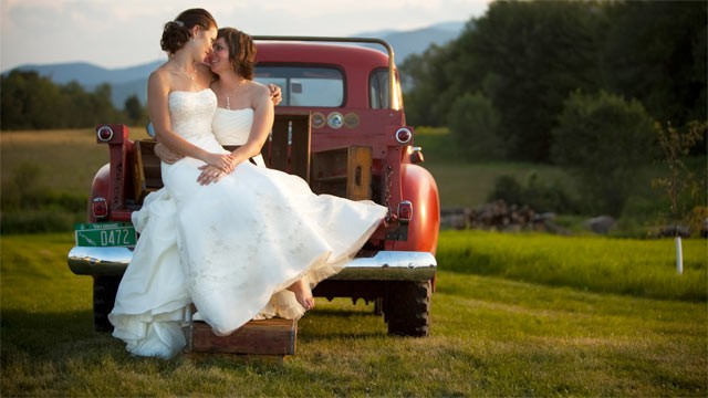 PHOTO: Two brides planned a traditional white wedding in Vermont. This image was included in a new book,