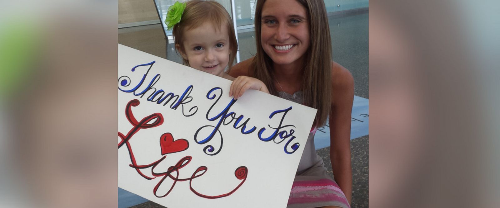 PHOTO: Bailey Personette, right, meets Madalyn Weimer, left, for the first time since the bone marrow transplant.