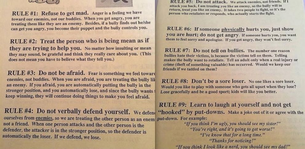 PHOTO: A Nebraska elementary school sent these rules for dealing with bullies out to some fifth graders.