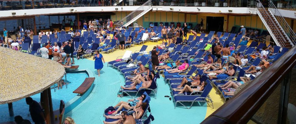 PHOTO: Jeremy Malone said that some of the cruise passengers tried not to let concerns about Ebola ruin the end of their vacation as they sunbathed on Friday.