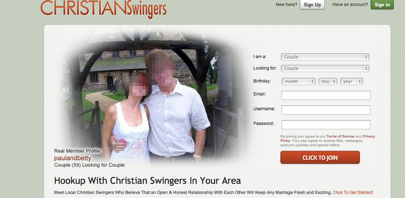 PHOTO: Christianswingers.com is offering Christians a chance to become swingers