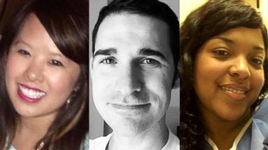 PHOTO: Ebola patients Nina Pham, left, Dr. Craig Spencer, center, and Amber Vinson are seen in undated file photos.