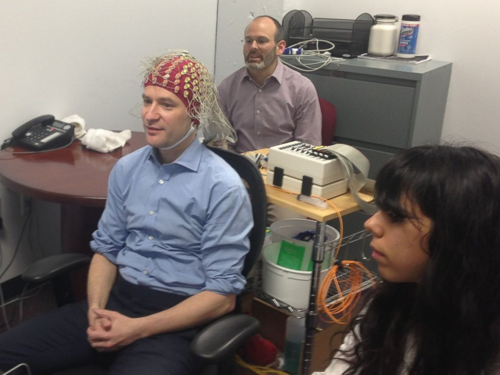 PHOTO: ABCs Dan Harris having his brain activity monitored during meditation.