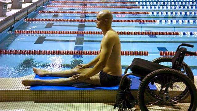 PHOTO: Swimmer Dave Denniston did not let paralysis get int the way of his competitive spirit.