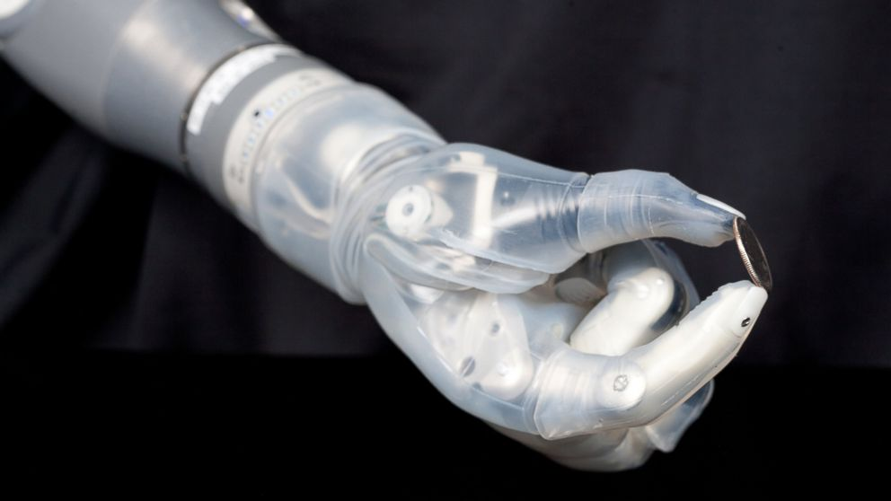 PHOTO: Sensors in the hand of the DEKA Arm System can provide feedback on grip strength.