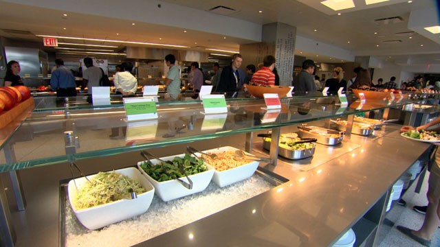 "PHOTO: The cafeteria at Googles New York City office was re-vamped to be loaded with ""nudges"" intended to lead people towards healthy food choices."