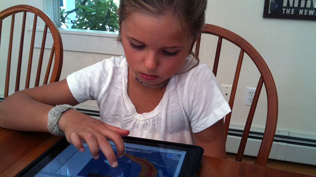 PHOTO: Grace Russell, 8, has been tracking Hurricane Irene.