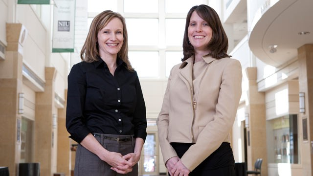 PHOTO: Michelle Lilly, a psychology professor at Northern Illinois U., right, and her research assistant, Heather Pierce, left, have found that emergency dispatchers are at risk for PTSD.