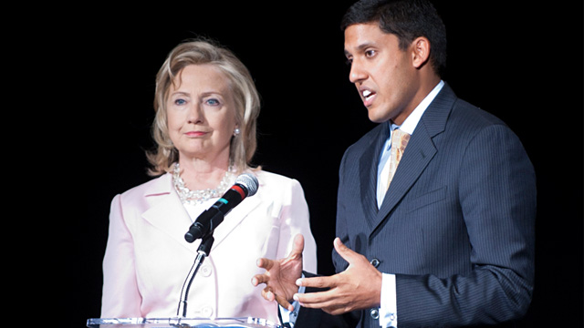PHOTO: Hillary Clinton and Rajiv Shah
