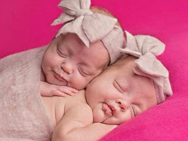 Kinleigh Ann Hinman and Azlynn Mary Hinman were photographed last weekend before their mother developed pneumonia.