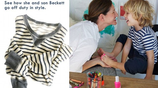 PHOTO: A new ad for JCrew shows the company's president painting her son's toenails pink.