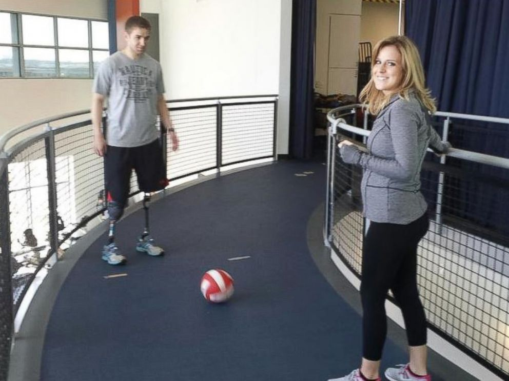 PHOTO: Josh Hargis practices his soccer skills using his prosthetic legs.