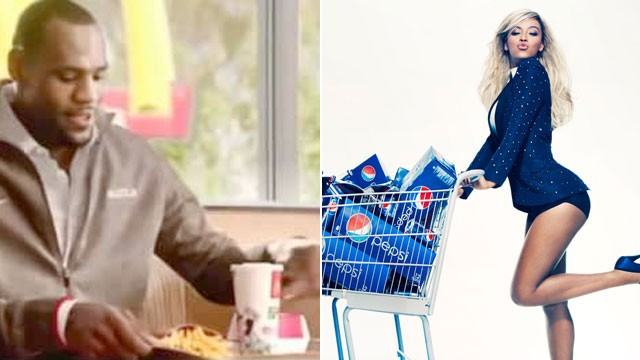 PHOTO: LeBron James stars in a McDonald's commercial. Beyonce at a Pepsi photo shoot in October 2012.