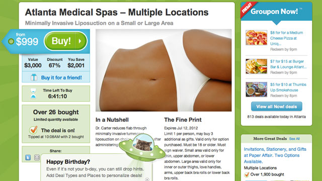 PHOTO:Liposuction is now available via Groupon.
