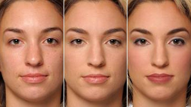 PHOTO: Composite photo of woman in various states of face makeup