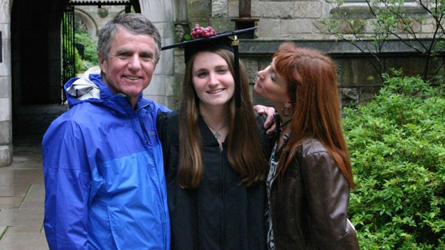 PHOTO: Kevin and Tracy Keegan kiss their daughter Marina at her graduation from Yale in May, 2012. She was killed days later in a car crash.