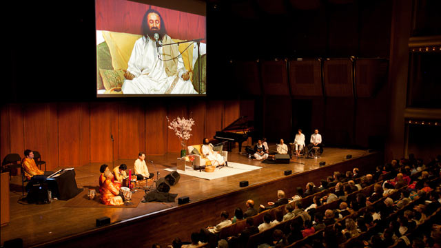 PHOTO: Group meditation, led by Sri Sri Ravi Shankar, a spiritual leader and founder of The Art of Living Foundation is shown at the Avery Fisher Hall, in New York.