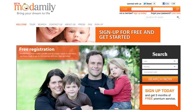 The Modamily.com website allows people who want to have kids, but not sex or ...