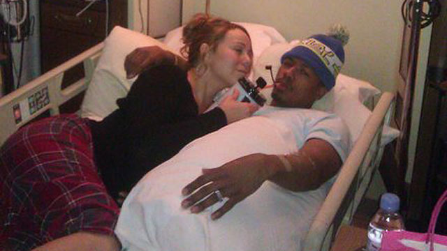 "PHOTO: Mariah Carey tweets a photo of herself and her husband Nick Cannon in an Aspen, Colo. hospital with Cannon suffering from ""mild kidney failure."""