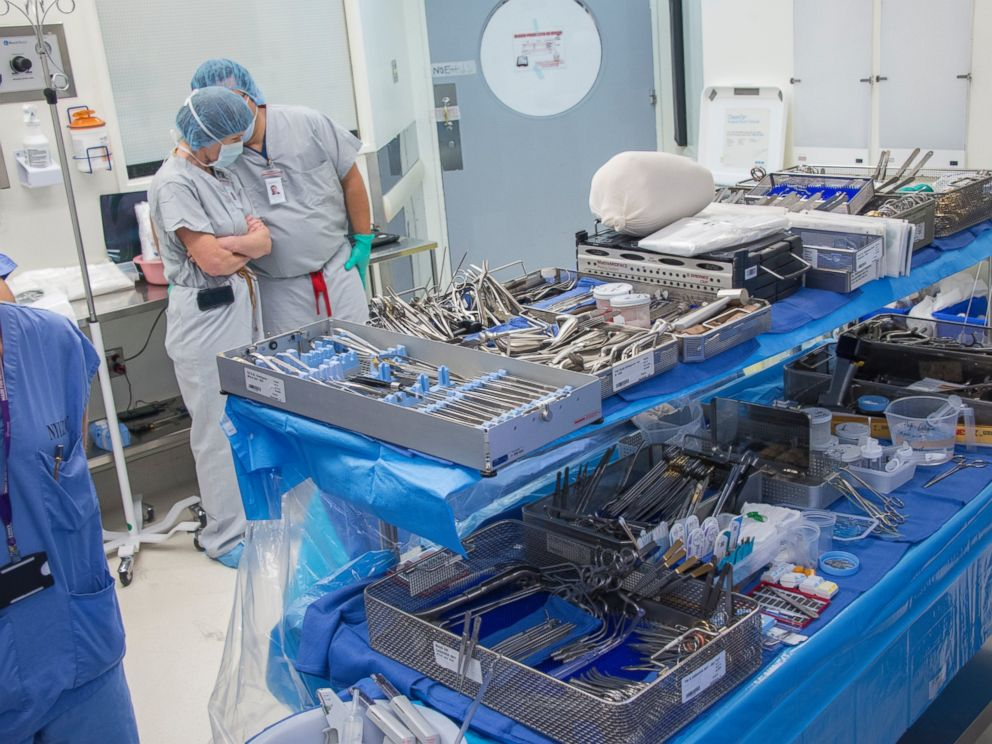 Trays of instruments set up for Pat Hardisons face transplant surgery at NYU Langone Medical Center in New York City.