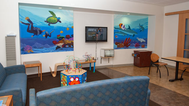 PHOTO: The pediatric lounge at the City of Hope Helford Clinical Research Hospital offers patients families some of the amenities of home.