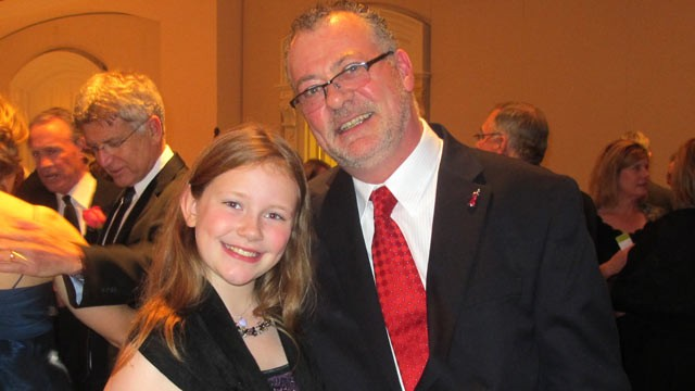 PHOTO: Olivia Quigley (seen here with her father Joe), now 10, collapsed of sudden cardiac arrest when she was in the first grade and now wears an implantable defibrillator.