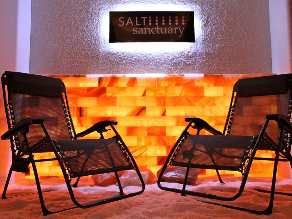 PHOTO: Himalayan salt covers the main salt room of the Salt Santuary in Johnson City, New York.